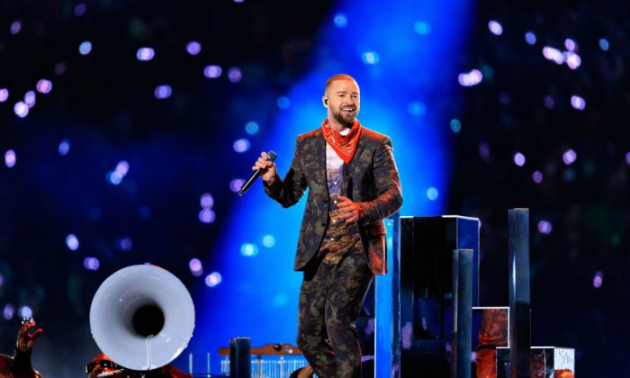 Recording artist Justin Timberlake performs onstage during the Pepsi Super Bowl LII Halftime Show at U.S. (Christopher Polk/Getty Images)