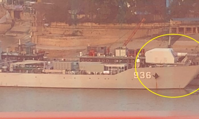 Photo uploaded by Chinese netizen in Wuhan shows that the Chinese Navy ship Haiyangshan (Number 936) is now fitted with what appears to be an electromagnetic railgun. (Weibo photo)
