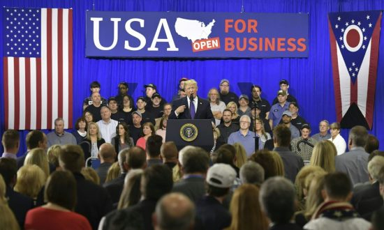 President Donald Trump delivers remarks on tax reform at Sheffer Corporation in Blue Ash, Ohio on Feb. 5, 2018. (MANDEL NGAN/AFP/Getty Images)