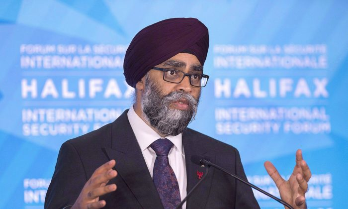 Defence Minister Harjit Sajjan fields questions during a news conference at the Halifax International Security Forum in Halifax on Nov. 19, 2017. (The Canadian Press/Andrew Vaughan)