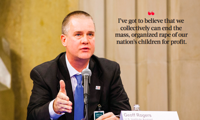 Geoff Rogers, CEO of the U.S. Institute Against Human Trafficking, at the Justice Department's Summit on Human Trafficking in Washington on Feb. 2, 2018. (Charlotte Cuthbertson/The Epoch Times)