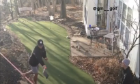 Two Men Try and Try to Land Impossible Golf Trick Shot When the Unexpected Happens