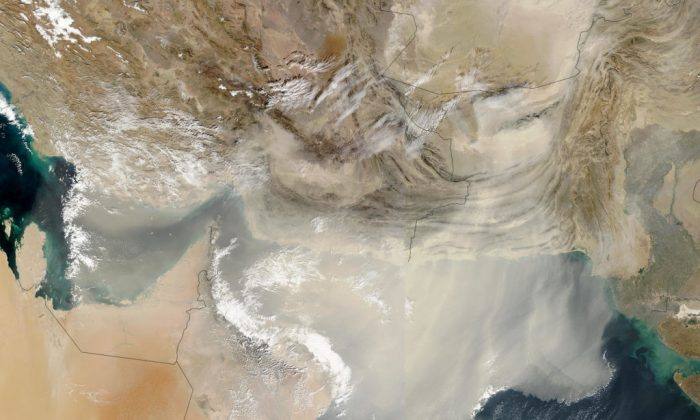 Satellite image of a dust storm blowing large quantities of dust out over the Persian Gulf and the Arabian Sea on Saturday, December 13, 2003. Viruses can travel for thousands of miles by riding dust particles and water vapor. (NASA)
