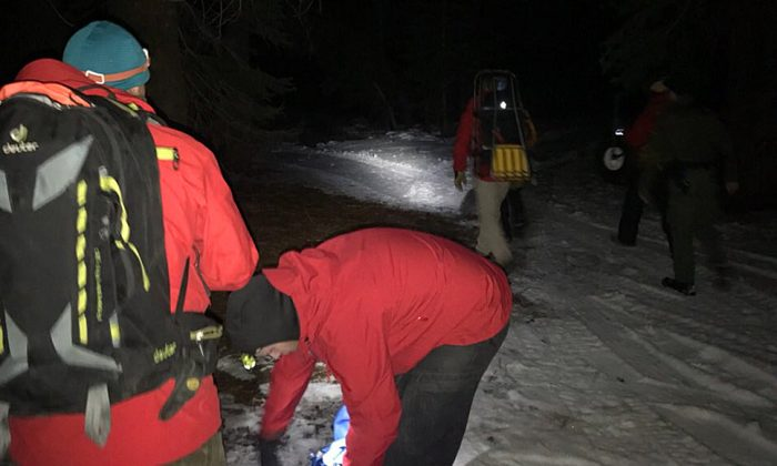 The Placer County Sheriff's Office Search and Rescue team, Tahoe Nordic crew, and members of the Truckee Fire Department headed out on Feb. 8 to rescue three hikers stranded on the slopes of Granite Chief. (Placer County Sheriff's Office)