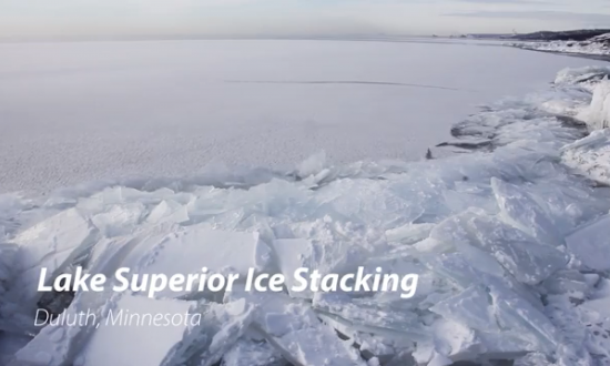 Strangely Hypnotic Ice Stacking Phenomenon on Lake Superior