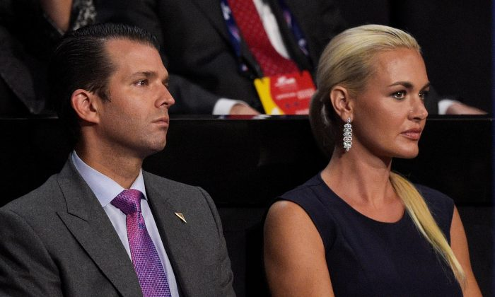 Donald Trump Jr. along with his wife Vanessa Trump, attend the evening session on the fourth day of the Republican National Convention at the Quicken Loans Arena in Cleveland, Ohio, on July 21, 2016. (Jeff Swensen/Getty Images)
