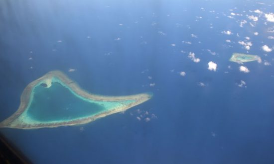 This picture taken on April 21, 2017 shows an aerial view of reefs in the disputed Spratly islands in the South China sea. (Ted Aljibe/AFP/Getty Images)