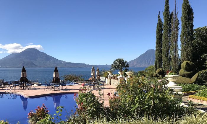 View of Lake Atitlan and volcanoes from Hotel Atitla. (Beverly Mann)