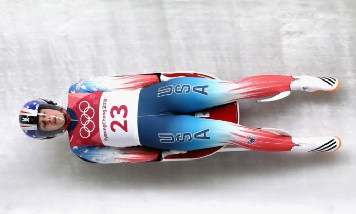 Emily Sweeney of USA slides during the Women's Singles Luge run 1 at Olympic Sliding Centre in Pyeongchang-gun, South Korea on Feb. 12, 2018. (Photo by Alexander Hassenstein/Getty Images)