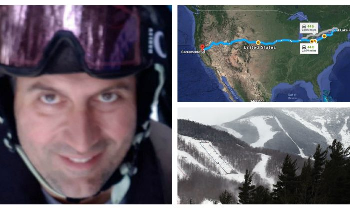 """(Clockwise from L-R): Missing skier Constantinos """"Danny"""" Filippidis (New York State Police), approximately 2,900 miles from Lake Placid, New York to Sacramento, Calif. (Google), file photo of Whiteface mountain (Bruce Bennett/Getty Images)"""