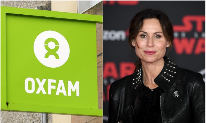 L: The logo on the front of an Oxfam bookshop in Glasgow on Feb. 10, 2018. (ANDY BUCHANAN/AFP/Getty Images); R: Actress Minnie Driver in Los Angeles on Dec. 9, 2017. (Ethan Miller/Getty Images)