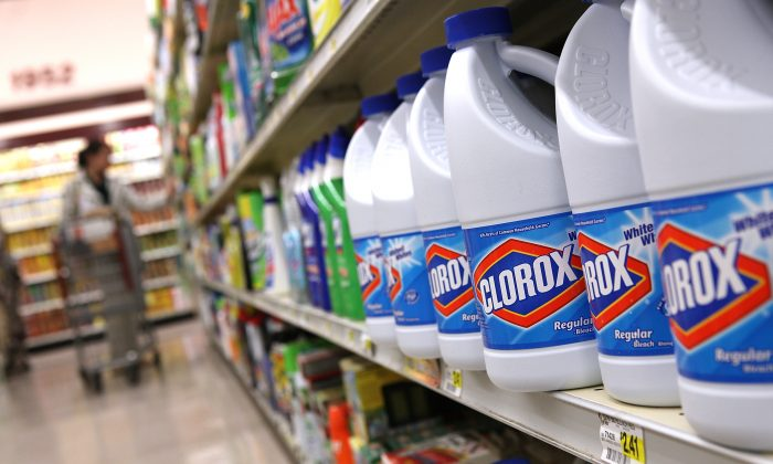 Bottles of Clorox bleach sit on a shelf at a grocery store in San Francisco, Calif on Feb. 11, 2011. (Justin Sullivan/Getty Images)