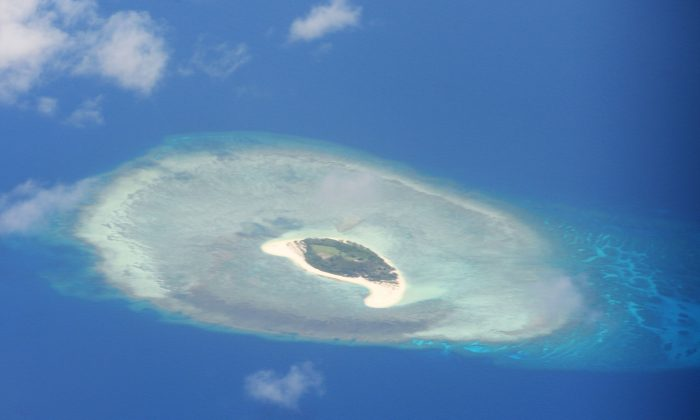 An aerial shot of a reef in the disputed Spratly islands on April 21, 2017. (Ted Aljibe/AFP/Getty Images)