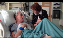 Together for 66 years, unfortunately husband now bedridden. But when he starts to sing—watch her