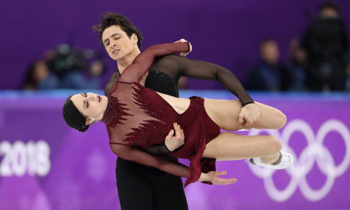 Canadians Tessa Virtue and ScottMoirperform at the ice dance free dance competitions during the Pyeongchang 2018 Winter Olympics on Feb. 20, 2018. (Reuters/Lucy Nicholson)