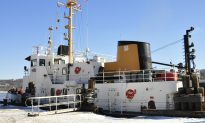 Coast Guard Ship Rams Through Thick Ice on Maine River