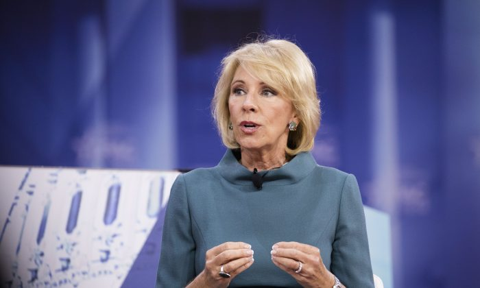 Secretary of Education Betsy DeVos speaks during CPAC 2018 in National Harbor, Md., on Feb. 22, 2018. The American Conservative Union hosted its annual Conservative Political Action Conference to discuss conservative agenda. (Samira Bouaou/The Epoch Times)