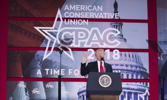 President Donald Trump speaks at CPAC on Feb. 23, 2018. (Samira Bouaou/Epoch Times)