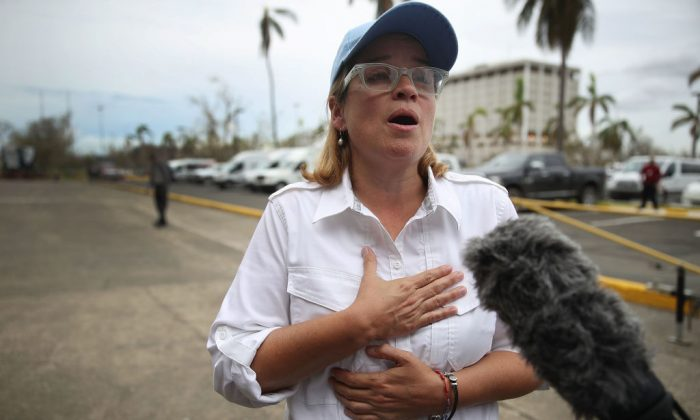 San Juan Mayor Carmen Yulin Cruz speaks to the media as she arrives at the temporary government center setup at the Roberto Clemente stadium in the aftermath of Hurricane Maria on Sept. 30, 2017, in San Juan, Puerto Rico. (Joe Raedle/Getty Images)