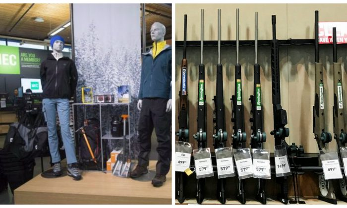 The inside of a Mountain Equipment Co-Op store in North Vancouver. (The Canadian Press/Jonathan Hayward) / Guns for sale are seen inside a Dick'sSportingGoodsstore in Stroudsburg, Pennsylvania on Feb. 28, 2018. (Reuters/Eduardo Munoz)