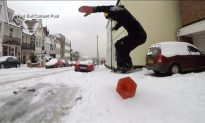 Olympic Bronze Medalist Snowboards Through the Streets of Essex