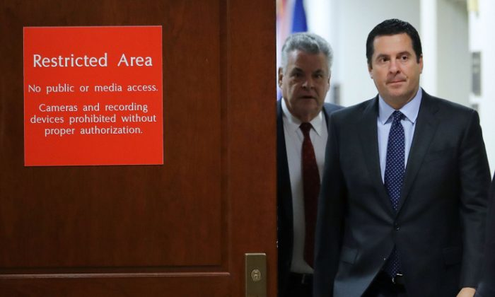 House Intelligence Committee Chairman Devin Nunes (R-Calif.) (2nd L) and Rep. Peter King (R-N.Y.) leave the committee's secure meeting rooms in the basement of the U.S. Capitol House Visitors Center Feb. 6, 2018 in Washington, DC. (Chip Somodevilla/Getty Images)