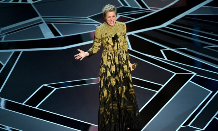 Actor Frances McDormand accepts Best Actress for 'Three Billboards Outside Ebbing, Missouri' onstage during the 90th Annual Academy Awards at the Dolby Theatre at Hollywood & Highland Center on March 4, 2018 in Hollywood, California. (Kevin Winter/Getty Images)