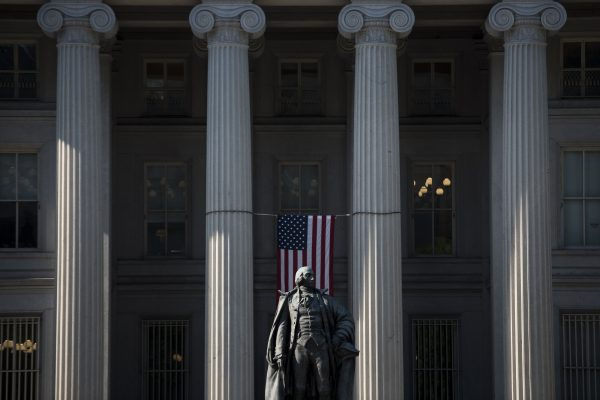 A view of the US Treasury building seen in Washington DC