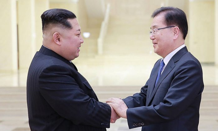 Chung Eui-Yong (R), head of the presidential National Security Office shakes hands with North Korean leader Kim Jong-Un (L) during their meeting in Pyongyang, North Korea, on March 5, 2018. (South Korean Presidential Blue House via Getty Images)