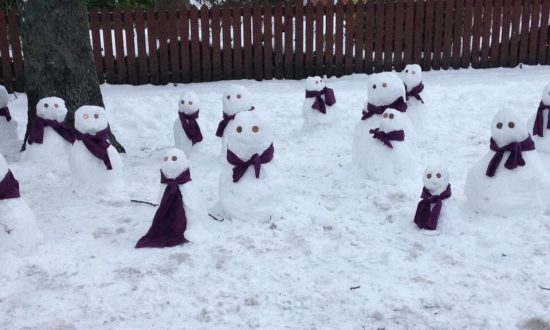 Army of Snowmen Appears Overnight After Snow Woman Destroyed in UK