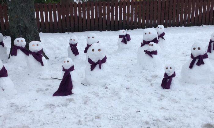 Snowmen in Newcastle upon Tyne, England. (Thomas Walker via Storyful)