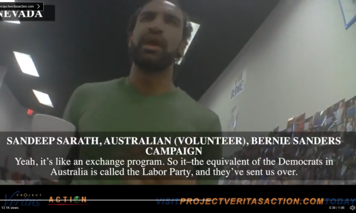 An Australian volunteer for the 2016 Bernie Sanders presidential campaign, Sandeep Sarath, allegedly sent and financed by the Australian Labor Party, explains his actions in an undercover video from Project Veritas. (Screenshot, Project Veritas)