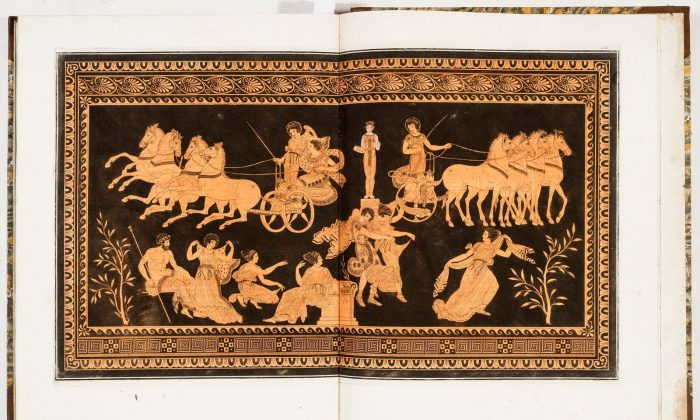 This plate, a classical Greek engraving representing a fifth-century red-and-black Greek-style vase, appears in a four-volume portfolio given to the king of England to showcase the antiquities in the British collection. The portfolio is part of the New York Antiquarian Book Fair, running through March 11, 2018. (Antiquariato Librario Bado)