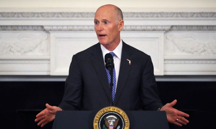 Florida Governor Rick Scott  in the State Dining Room at the White House February 26, 2018 in Washington, DC. (Chip Somodevilla/Getty Images)