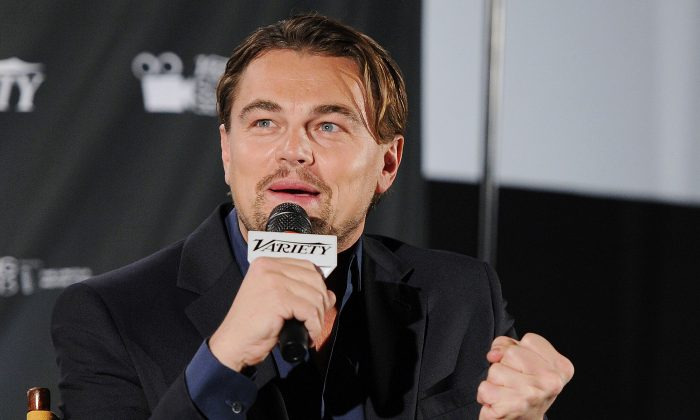 Actor Leonardo DiCaprio speaks during the 2013-2014 Variety Screening of 'The Wolf Of Wall Street' at Chelsea Bow Tie Cinemas on February 4, 2014 in New York City. (Ilya S. Savenok/Getty Images)