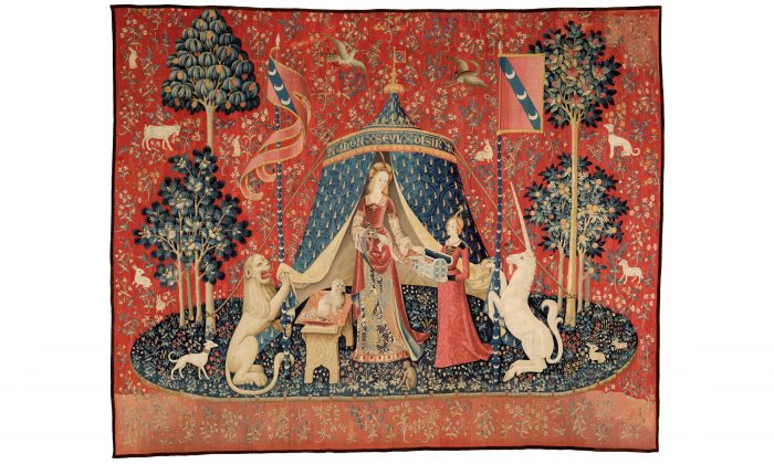 """""""My sole desire,"""" circa 1500, from 'The Lady and the Unicorn' series. Wool and silk, 148 ½ inches by x 186 and ¼ inches.Musée de Cluny–Musée national du Moyen Âge, Paris. (RMN-GP/M Urtado)"""
