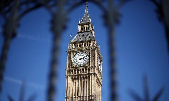 Elizabeth Tower, commonly called Big Ben, is pictured on April 1, 2015 in London, United Kingdom. (Carl Court/Getty Images)