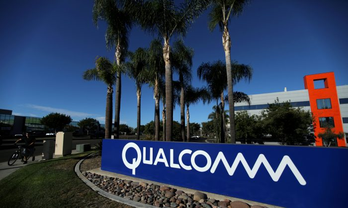 A sign on the Qualcomm campus in San Diego, California, on November 6, 2017. The United States blocked a proposed deal for Singapore-based company Broadcom to acquire the leading American chipmaker, citing concerns that China would eventually gain access to the company's technology. (Mike Blake/File Photo/Reuters)