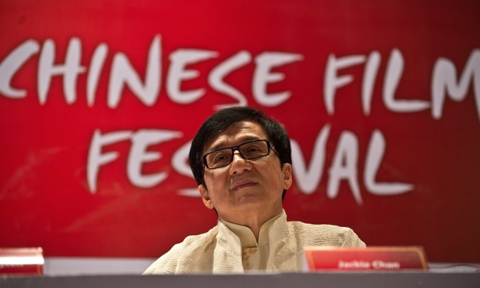 Hong Kong actor Jackie Chan at the Chinese Film Festival press conference in New Delhi on June 18, 2013. (MANAN VATSYAYANA/AFP/Getty Images)