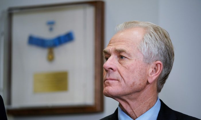 White House trade advisor Peter Navarro watches as President Donald Trump speaks before signing Section 232 proclamations setting tariffs on steel and aluminum imports in the White House on March 8, 2018. (Mandel Ngan/AFP/Getty Images)