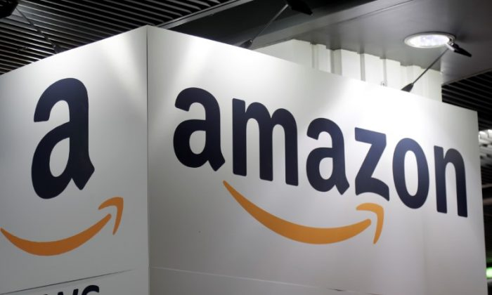 FILE—The Amazon logo is seen at the Young Entrepreneurs fair in Paris, France, Feb.7, 2018. (Charles Platiau)