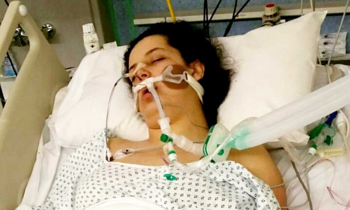 Mariam Moustafa in a coma at Nottingham City Hospital just days after the attack. (SWNS)