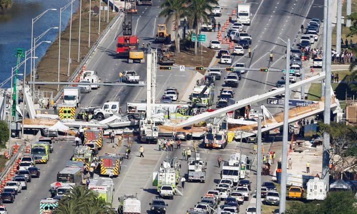 Aerial view of the pedestrian bridge collapse at Florida International University in Miami, March 15, 2018.  (Joe Skipper/Reuters)