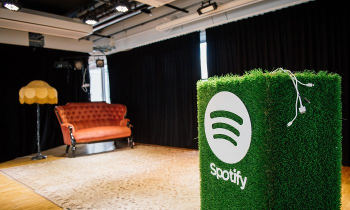 A speaker with the Spotify logo is pictured in the cafeteria of the company headquarters in Stockholm in a file photo from 2015. (Jonathan Nackstrand/AFP/Getty Images)