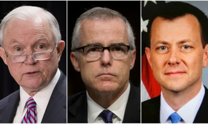 (L-R) Attorney General Jeff Sessions (Samira Bouaou/Epoch Times) Former Deputy Director of the FBI Andrew McCabe (Alex Wong/Getty Images) FBI Official Peter Strzok (Public Domain)