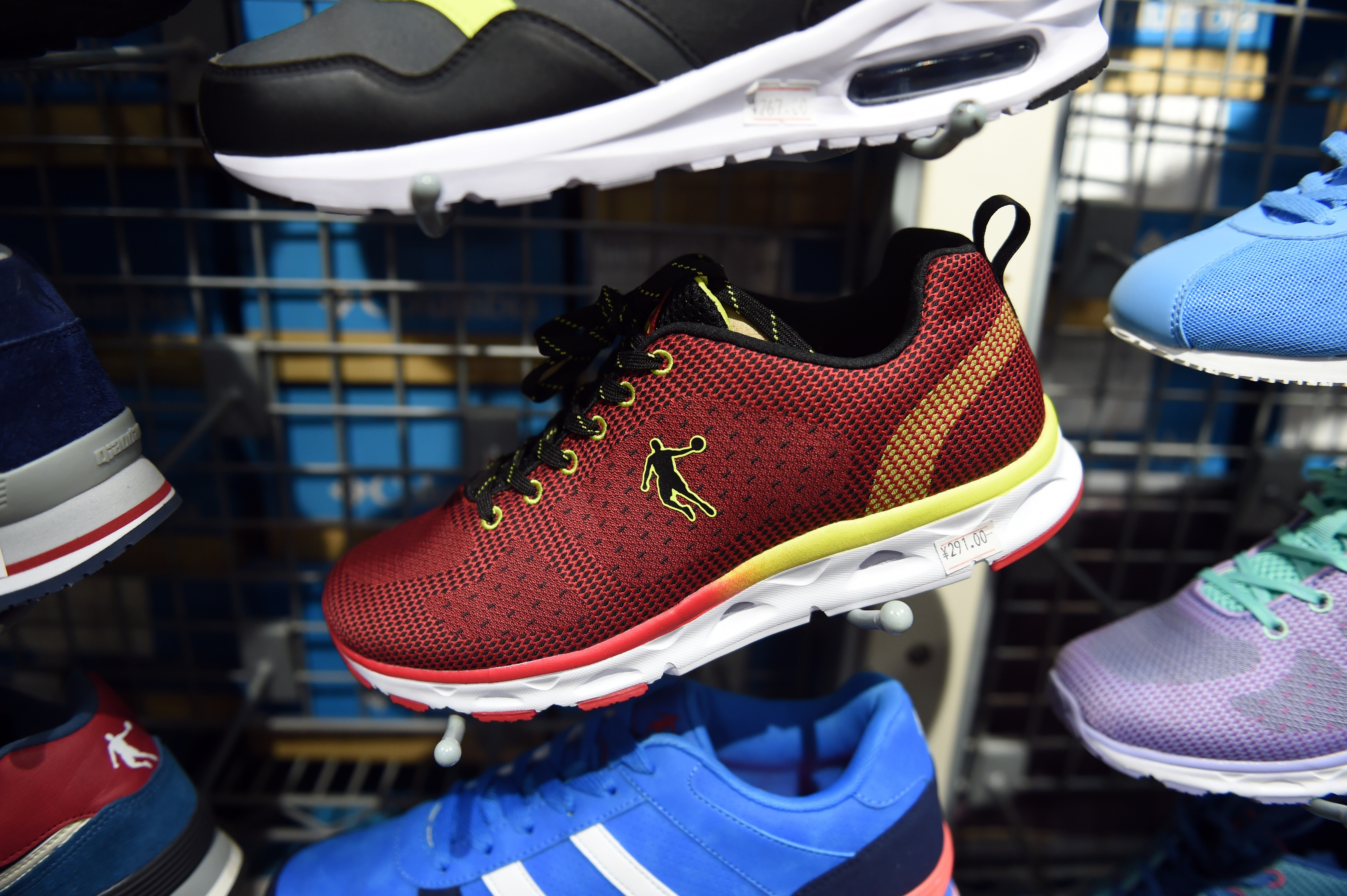 Qiaodan brand shoes at a store in Beijing, China, on July 29, 2015. (Greg  Baker/AFP/Getty Images)