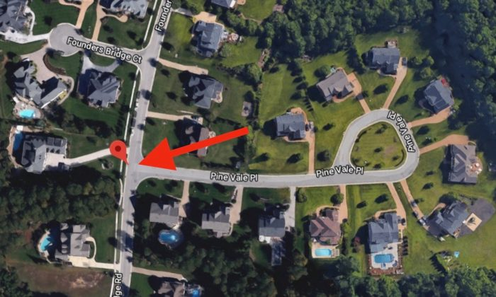 Founders Bridge Road, in Chesterfield County, Va., the area where police told the public to look out for a missing boy. (Screenshot via Google Maps)