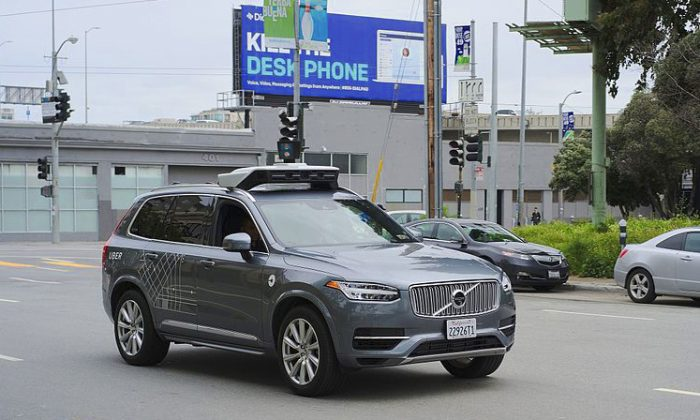 This Uber autonomous Volvo is similar to the one involved in the fatal crash in Tempe, Arizona. (Wikimedia commons)