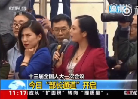 The eye roll that caught the Chinese internet by storm, as broadcast on China's state television, CCTV. (Screenshot)