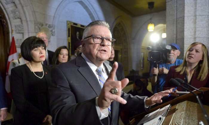 Public Safety Minister Ralph Goodale announces new firearms legislation on Parliament Hill in Ottawa on March 20, 2018. (The Canadian Press/Justin Tang)